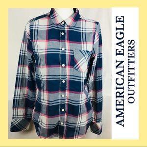 AEO plaid button up shirt 12